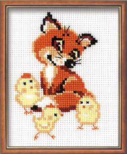 click here to view larger image of Fox Cub with Chicks (counted cross stitch kit)