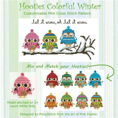 click here to view larger image of Hooties Colorful Winter Collection (chart)
