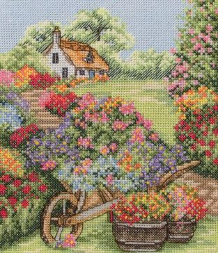 click here to view larger image of Floral Wheelbarrow (counted cross stitch kit)