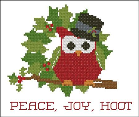 click here to view larger image of Christmas Hootie 004 Peace Joy (chart)