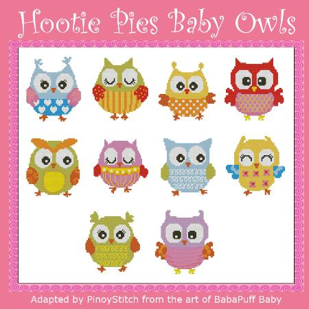 click here to view larger image of Hootie Pies Baby Owls Mini Collection (chart)