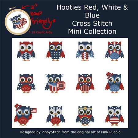 click here to view larger image of Hooties Red White and Blue Owls (chart)
