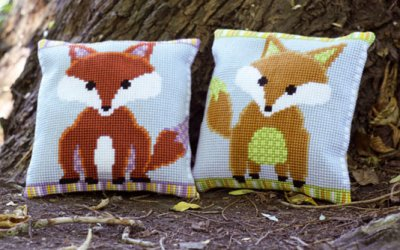 click here to view larger image of Brown/Purple Fox (Left) (counted canvas kit)