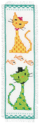 click here to view larger image of Yellow & Green Cat Bookmark (counted cross stitch kit)