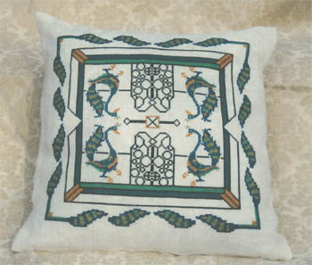 click here to view larger image of Peacock Gates Pillow (chart)