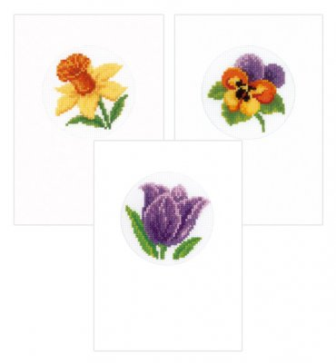 click here to view larger image of Daffodil-Tulip-Pansy Greeting Cards (set of 3) (counted cross stitch kit)
