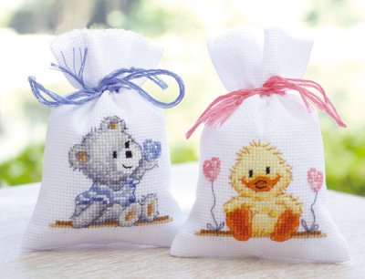 click here to view larger image of Birth Teddy Potpourri Bag (Left) (counted cross stitch kit)