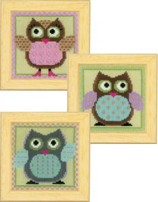 click here to view larger image of Funny Owl Trio Miniatures (Set of 3) (counted cross stitch kit)