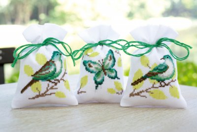 click here to view larger image of Green Birds & Butterfly Potpourri Bags (Set of 3) (counted cross stitch kit)