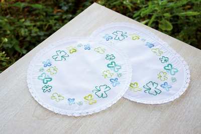 click here to view larger image of Green Butterfly Doilies (Set of 3) (stamped cross stitch kit)