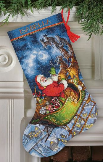 click here to view larger image of Santas Flight Stocking (counted cross stitch kit)