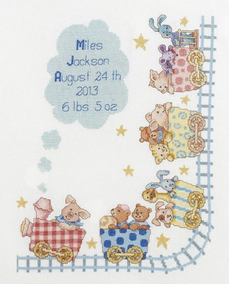click here to view larger image of Little Train Birth Record (counted cross stitch kit)