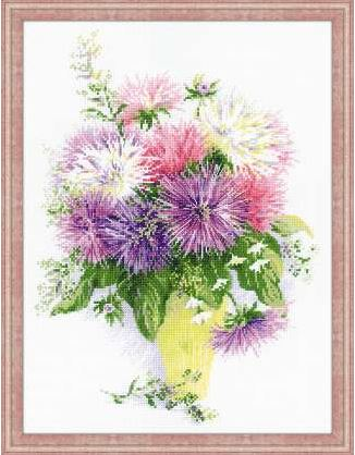 click here to view larger image of Asters (counted cross stitch kit)