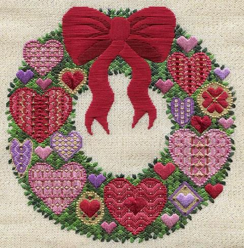Valentine Wreath - click here for more details about chart with charms/buttons