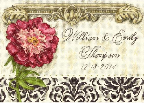 click here to view larger image of Elegant Wedding Record (counted cross stitch kit)