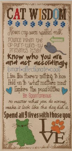 click here to view larger image of Cat Wisdom (counted cross stitch kit)