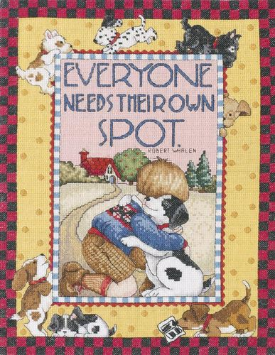 click here to view larger image of Everyone Needs Their Own Spot - Mary Engelbreit (counted cross stitch kit)
