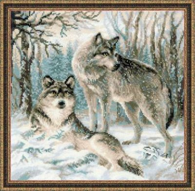 click here to view larger image of Pair of Wolves (counted cross stitch kit)