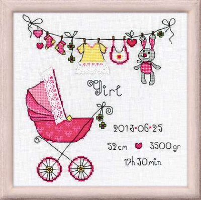 click here to view larger image of It's A Girl (counted cross stitch kit)