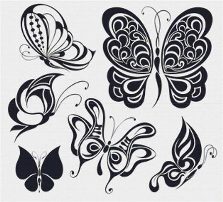 click here to view larger image of Black and White Butterflies (chart)