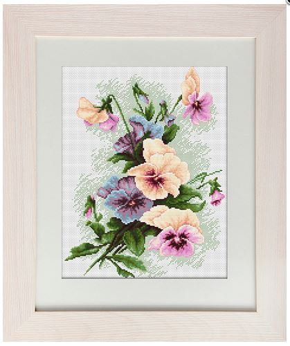 click here to view larger image of Pansies (counted cross stitch kit)