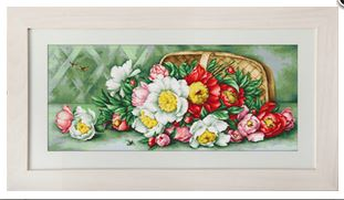 click here to view larger image of Basket of Peonies (counted cross stitch kit)