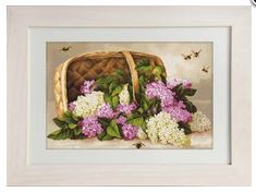 click here to view larger image of Basket of Lilacs (counted cross stitch kit)