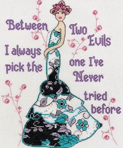 click here to view larger image of Two Evils (counted cross stitch kit)