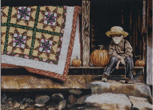 click here to view larger image of Pumpkin Porch (counted cross stitch kit)