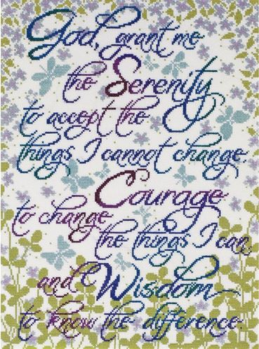 click here to view larger image of Serenity Prayer Floral (counted cross stitch kit)