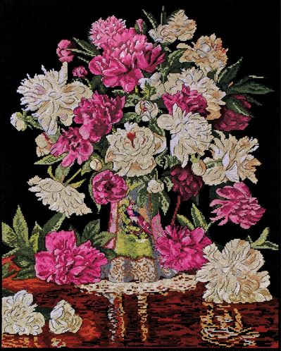 click here to view larger image of Peony Vase (counted cross stitch kit)