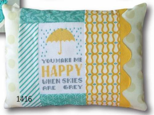 click here to view larger image of You Make Me Happy - Pillow Kit (counted cross stitch kit)