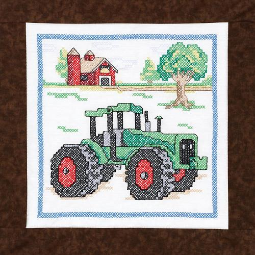 click here to view larger image of Tractor Quilt Blocks Stamped Cross Stitch (stamped cross stitch)