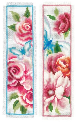 click here to view larger image of Flowers and Butterflies I Bookmarks (set of 2) (counted cross stitch kit)