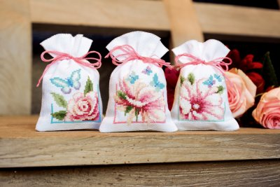 click here to view larger image of Flowers and Butterflies II Potpourri Bags (set of 3) (counted cross stitch kit)