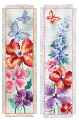 click here to view larger image of Summer Bouquet Bookmarks (set of 2) (counted cross stitch kit)