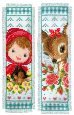 click here to view larger image of Bambi and Red Riding Hood Bookmarks (set of 2) (counted cross stitch kit)
