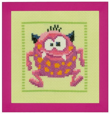 click here to view larger image of Pink Monster II (counted cross stitch kit)