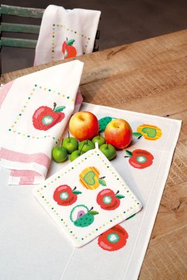 click here to view larger image of Colorful Apples Kitchen Towels (set of 2) (counted cross stitch kit)
