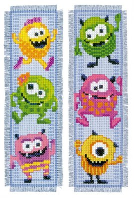 click here to view larger image of Little Monsters Bookmarks (set of 2) (counted cross stitch kit)