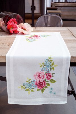 click here to view larger image of Floral Wreath Table Runner (stamped cross stitch kit)