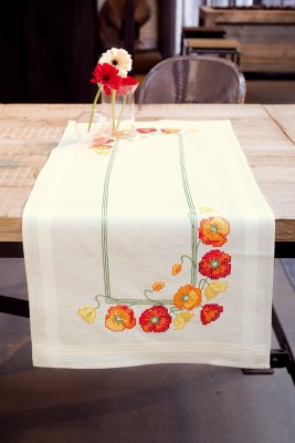 click here to view larger image of Poppies Table Runner (stamped cross stitch kit)