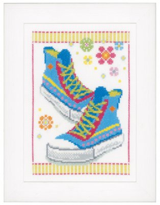 click here to view larger image of Blue Sneakers (counted cross stitch kit)