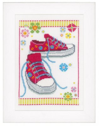 click here to view larger image of Pink Sneakers (counted cross stitch kit)