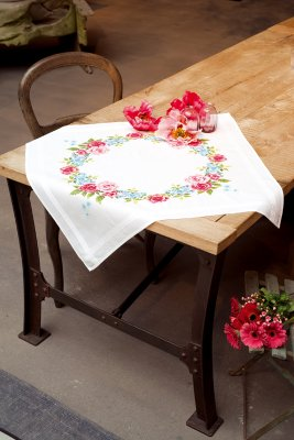 click here to view larger image of Floral Wreath Table Cloth (stamped cross stitch kit)
