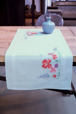 click here to view larger image of Summer Flowers Table Runner (counted cross stitch kit)