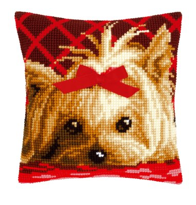 click here to view larger image of Yorkshire with Bow Pillow (counted cross stitch kit)