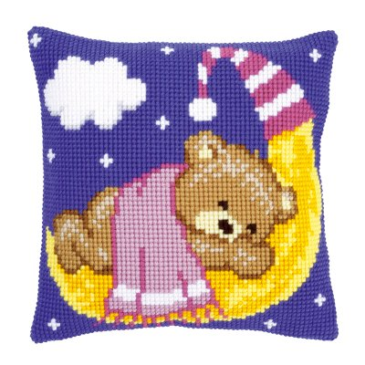 click here to view larger image of Pink Teddy on the Moon (counted cross stitch kit)