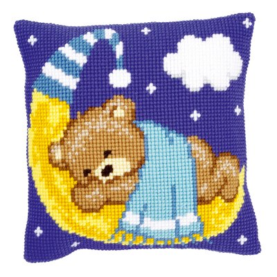 click here to view larger image of Blue Teddy on the Moon (counted cross stitch kit)