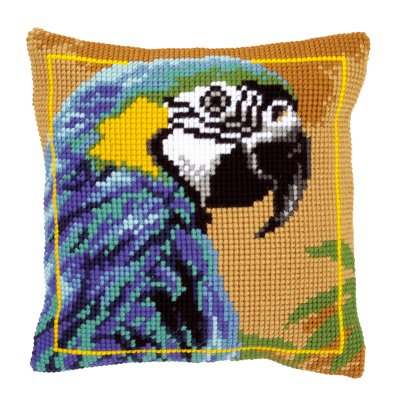click here to view larger image of Blue Macaw Pillow (counted cross stitch kit)